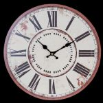 Distressed Vintage Style Round Cream Wall Clock 34cm w Bronze Colour Edging